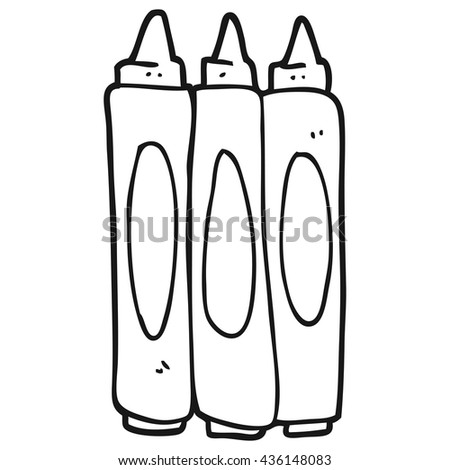 freehand drawn black and white cartoon crayons