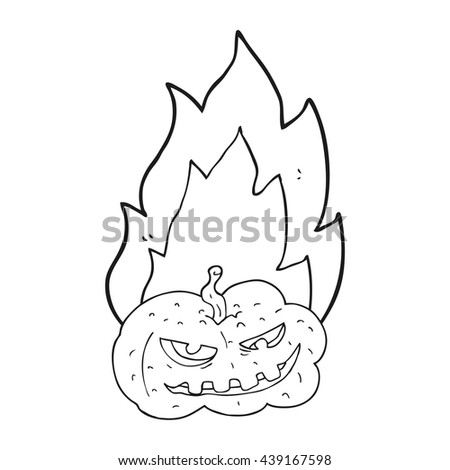 freehand drawn black and white cartoon flaming halloween pumpkin - stock vector