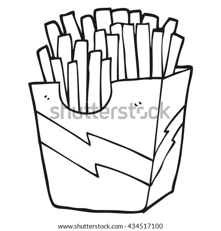 freehand drawn black and white cartoon french fries - stock vector