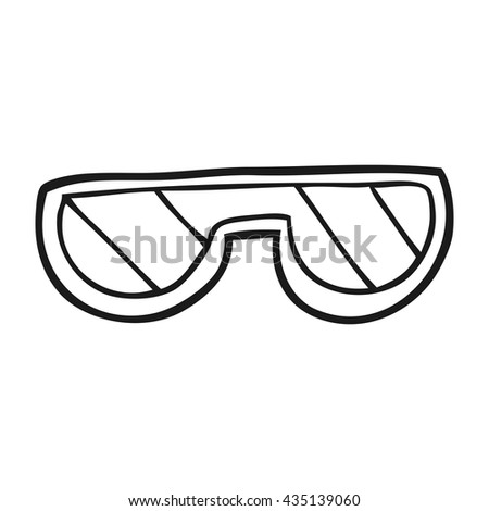 freehand drawn black and white cartoon glasses