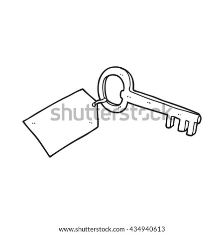 freehand drawn black and white cartoon key with tag