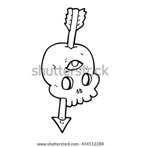 freehand drawn black and white cartoon magic skull with arrow through brain - stock vector