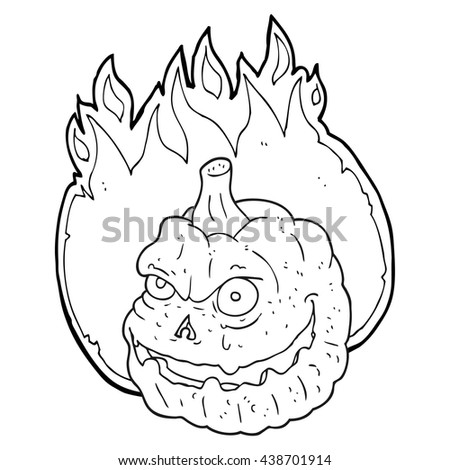 freehand drawn black and white cartoon spooky pumpkin - stock vector