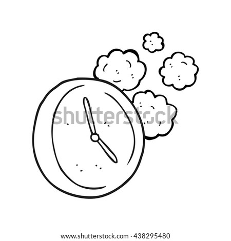 freehand drawn black and white cartoon ticking clock