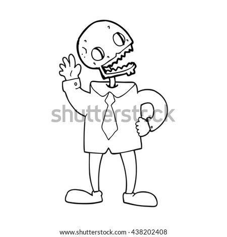 freehand drawn black and white cartoon zombie businessman