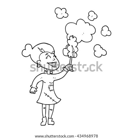 freehand drawn black and white cartoon zombie woman dusting - stock vector