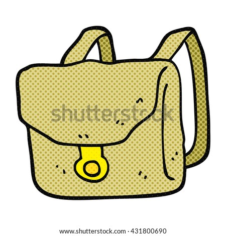 freehand drawn cartoon backpack - stock vector