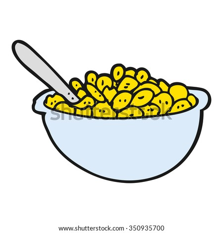freehand drawn cartoon bowl of cereal - stock vector