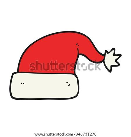 freehand drawn cartoon christmas hat - stock vector