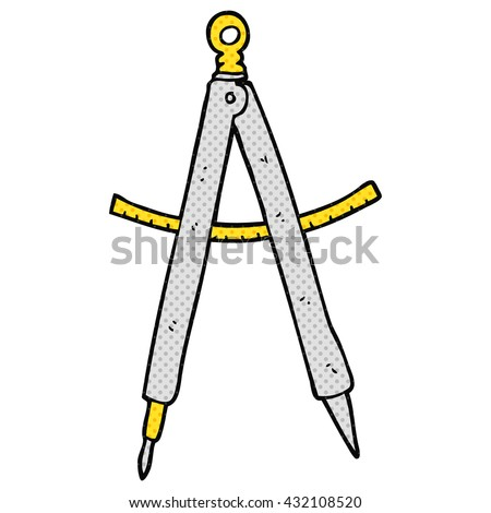 freehand drawn cartoon compass - stock vector