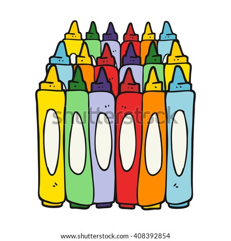 freehand drawn cartoon crayons - stock vector