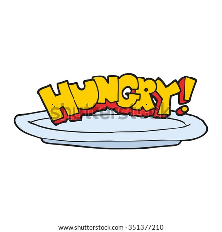 freehand drawn cartoon empty plate with hungry symbol - stock vector