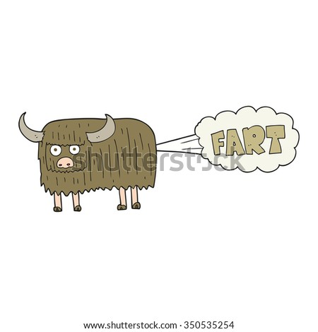 freehand drawn cartoon hairy cow farting - stock vector