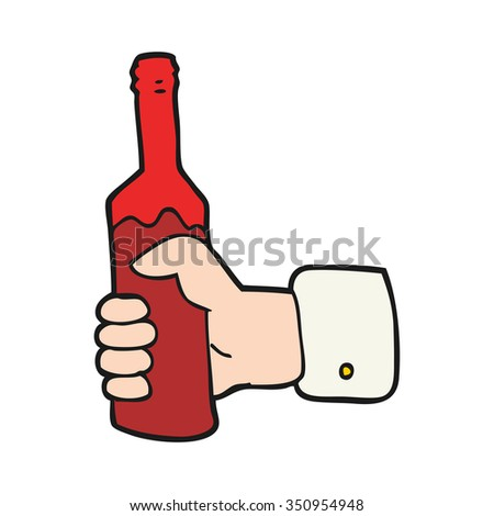 freehand drawn cartoon hand holding bottle of wine - stock vector