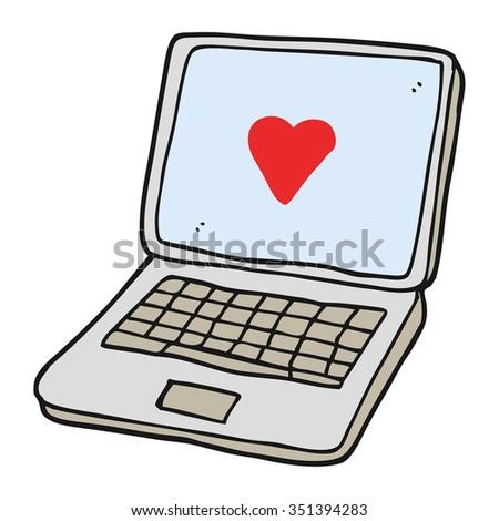 Freehand Drawn Cartoon Laptop Computer Heart Stock Vector 351394283