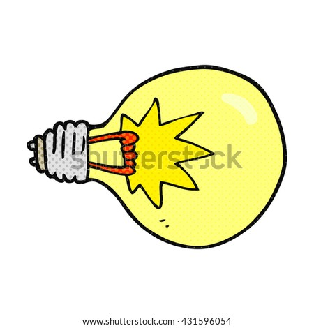 freehand drawn cartoon light bulb