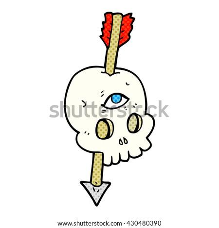 freehand drawn cartoon magic skull with arrow through brain - stock vector