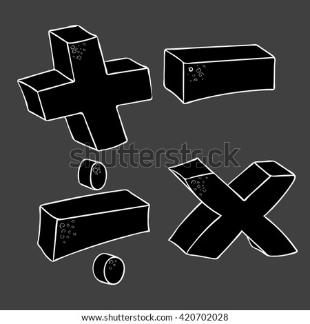 freehand drawn cartoon math symbols plus minus multiply divide volume - stock vector