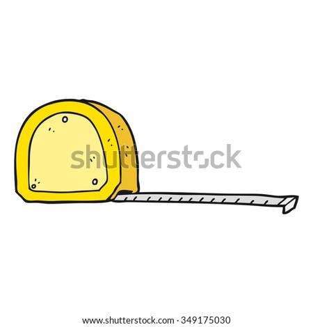 freehand drawn cartoon measuring tape - stock vector