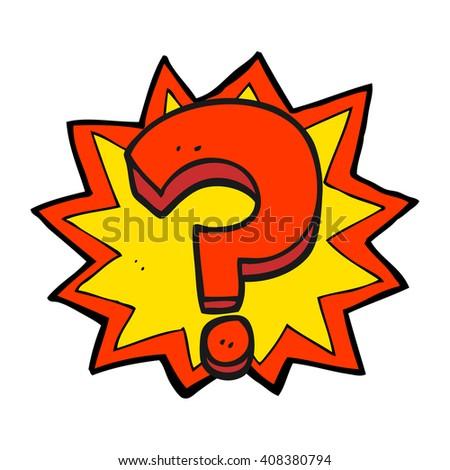 freehand drawn cartoon question mark - stock vector