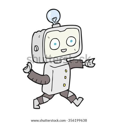 freehand drawn cartoon robot - stock vector