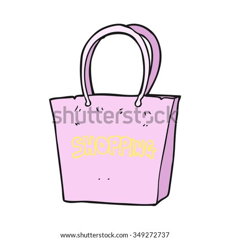 freehand drawn cartoon shopping bag