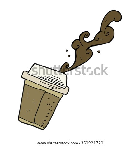 freehand drawn cartoon spilling coffee