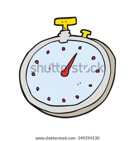 freehand drawn cartoon stopwatch - stock vector