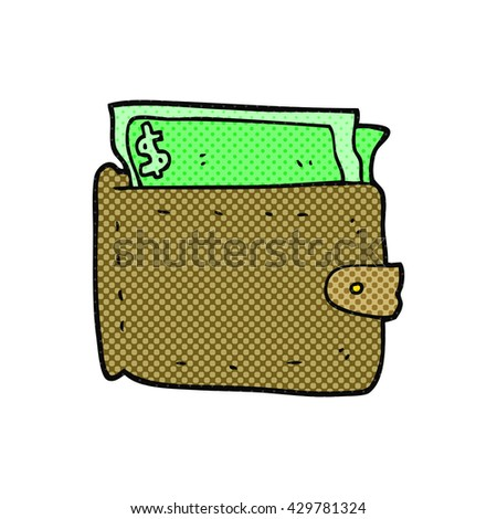 freehand drawn cartoon wallet full of money - stock vector