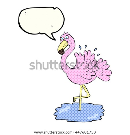 freehand drawn comic book speech bubble cartoon flamingo