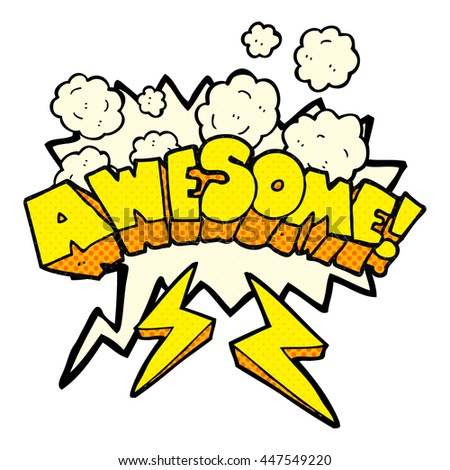 freehand drawn comic book speech bubble cartoon word awesome - stock vector