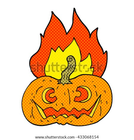 freehand drawn comic book style cartoon flaming halloween pumpkin - stock vector