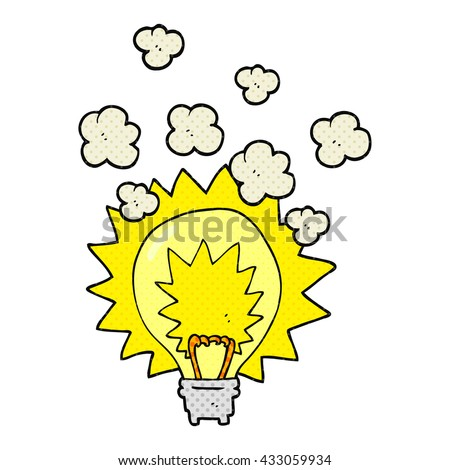 freehand drawn comic book style cartoon light bulb shining - stock vector
