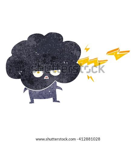 freehand drawn retro cartoon raincloud character shooting lightning - stock vector