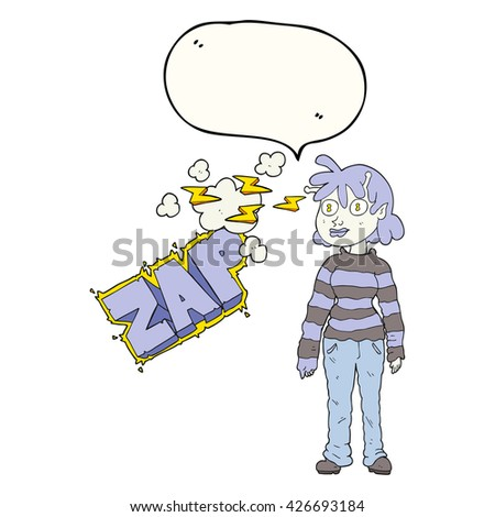 freehand drawn speech bubble cartoon casual alien girl using telepathy - stock vector