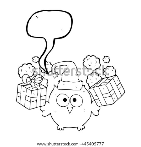 freehand drawn speech bubble cartoon christmas owl