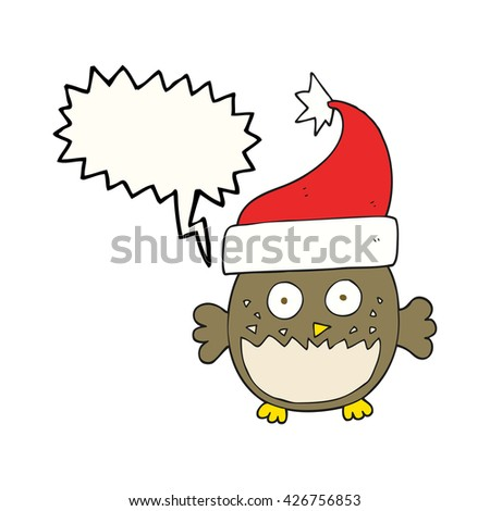 freehand drawn speech bubble cartoon owl wearing christmas hat
