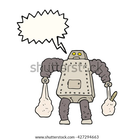 freehand drawn speech bubble cartoon robot carrying shopping