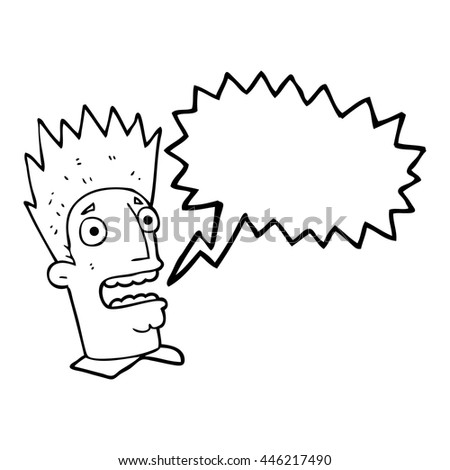 freehand drawn speech bubble cartoon shocked man