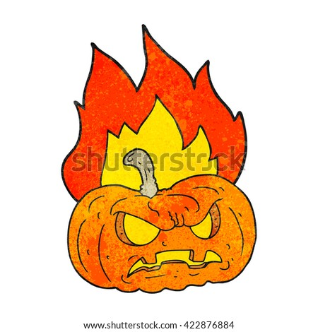 freehand drawn texture cartoon halloween pumpkin - stock vector