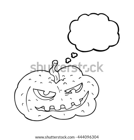 freehand drawn thought bubble cartoon halloween pumpkin - stock vector