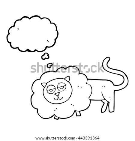 freehand drawn thought bubble cartoon lion