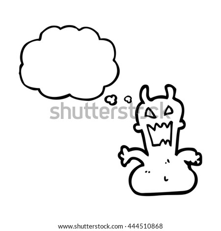 freehand drawn thought bubble cartoon little alien