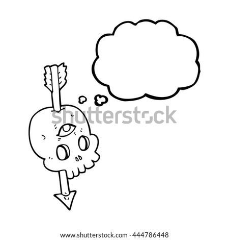 freehand drawn thought bubble cartoon magic skull with arrow through brain - stock vector