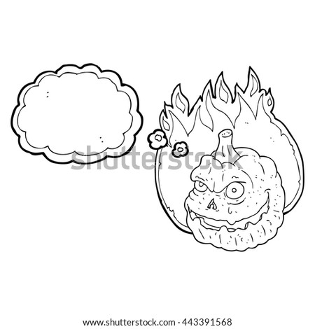 freehand drawn thought bubble cartoon spooky pumpkin - stock vector