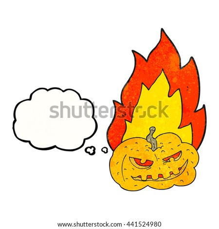 freehand drawn thought bubble textured cartoon flaming halloween pumpkin - stock vector