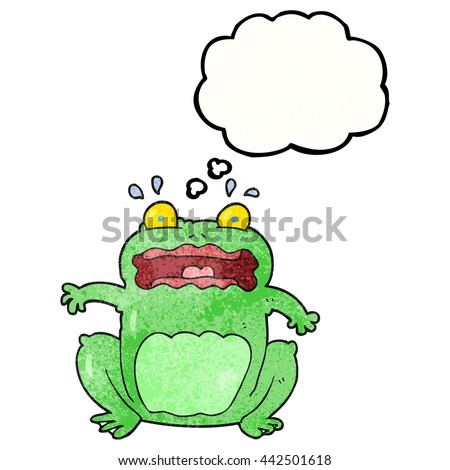 freehand drawn thought bubble textured cartoon funny frightened frog