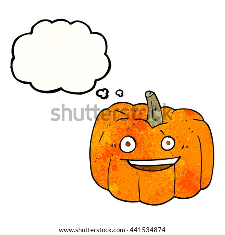 freehand drawn thought bubble textured cartoon halloween pumpkin - stock vector