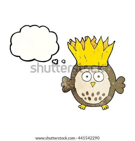 freehand drawn thought bubble textured cartoon owl wearing paper crown christmas hat