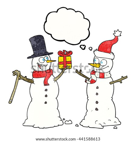 freehand drawn thought bubble textured cartoon snowmen exchanging gifts